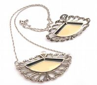 Vintage Art Deco Style Brooch And Necklace Set By Avon